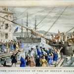 Lithograph depicting the Boston Tea Party.