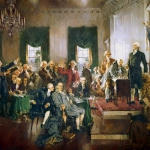 Painting of the signing of the Constitution by Howard Chandler Christy.