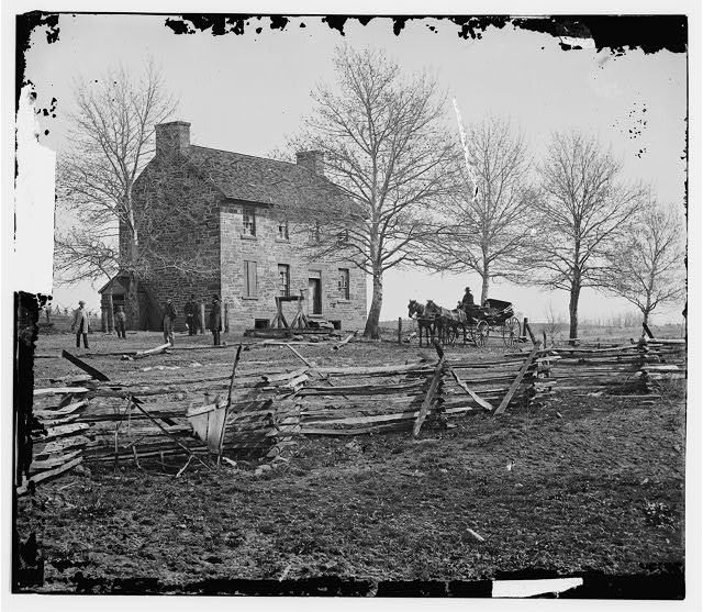 Black and white photo of the Stone House Tavern.