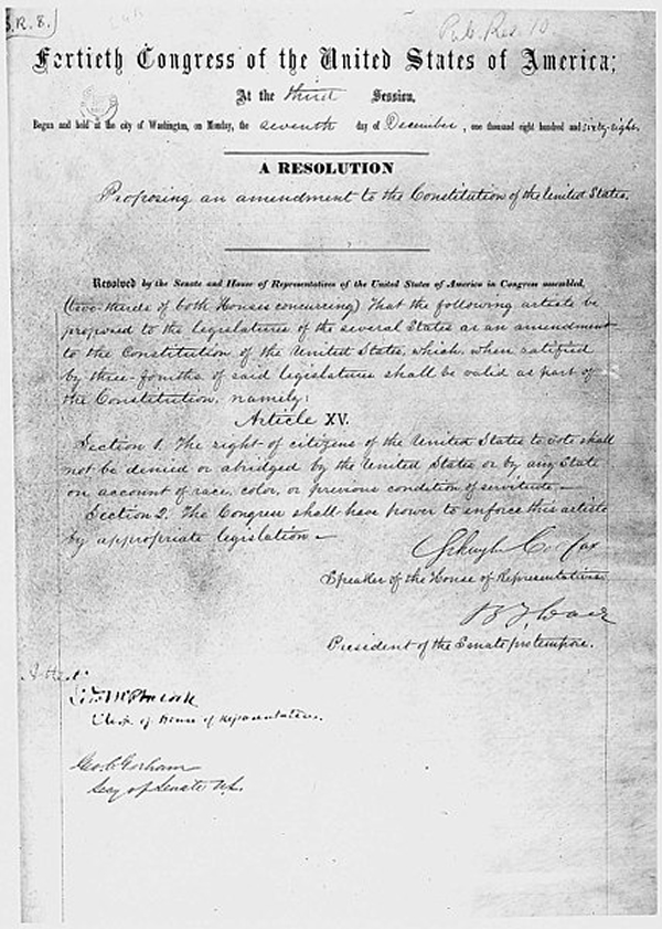 The House Joint Resolution proposing the 15th amendment to the Constitution, December 7, 1868.