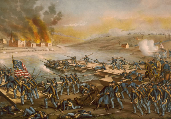 Print of the Army of the Potomac crossing the Rapahannock River at the Battle of Fredericksburg