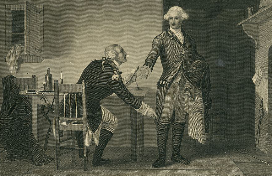 Painting by C.F. Blauvelt depicting Benedict Arnold directing Major John Andre to hide his dispatches to General Clinton in his boot.