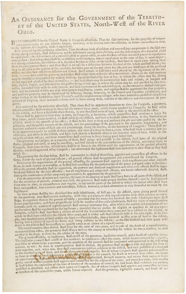 Image of the first page of the Northwest Ordinance